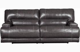 McCaskill Gray Leather 2 Seat Power Reclining Sofa