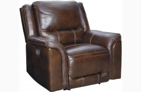 Catanzaro Mahogany Leather Power Recliner with Adjustable Headrest