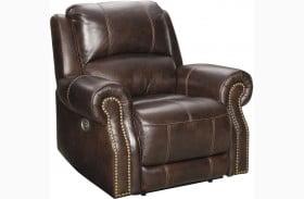 Buncrana Chocolate Leather Power Recliner with Adjustable Headrest