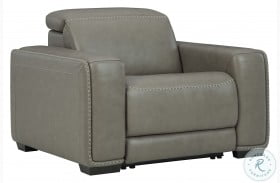 Correze Gray Leather Power Recliner