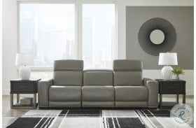 Correze Gray Power Reclining Leather Sofa