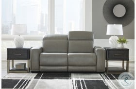 Correze Gray Leather Power Reclining Loveseat