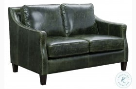 Miles Fescue Green Leather Loveseat