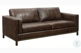Drake Brown Wooden Base Leather Sofa