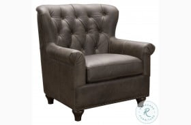 Charlie Heritage Brown Tufted Leather Arm Chair