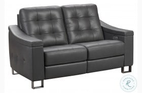 Parker Storm Gray Tufted Leather Power Reclining Loveseat