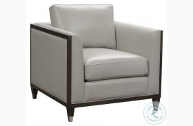 Addison Frost Grey Wooden Base Leather Accent Chair