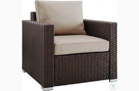 Modern Woven Rustic Brown And Beige Upholstered Outdoor Accent Chair