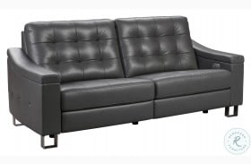 Parker Storm Gray Tufted Leather Power Reclining Sofa