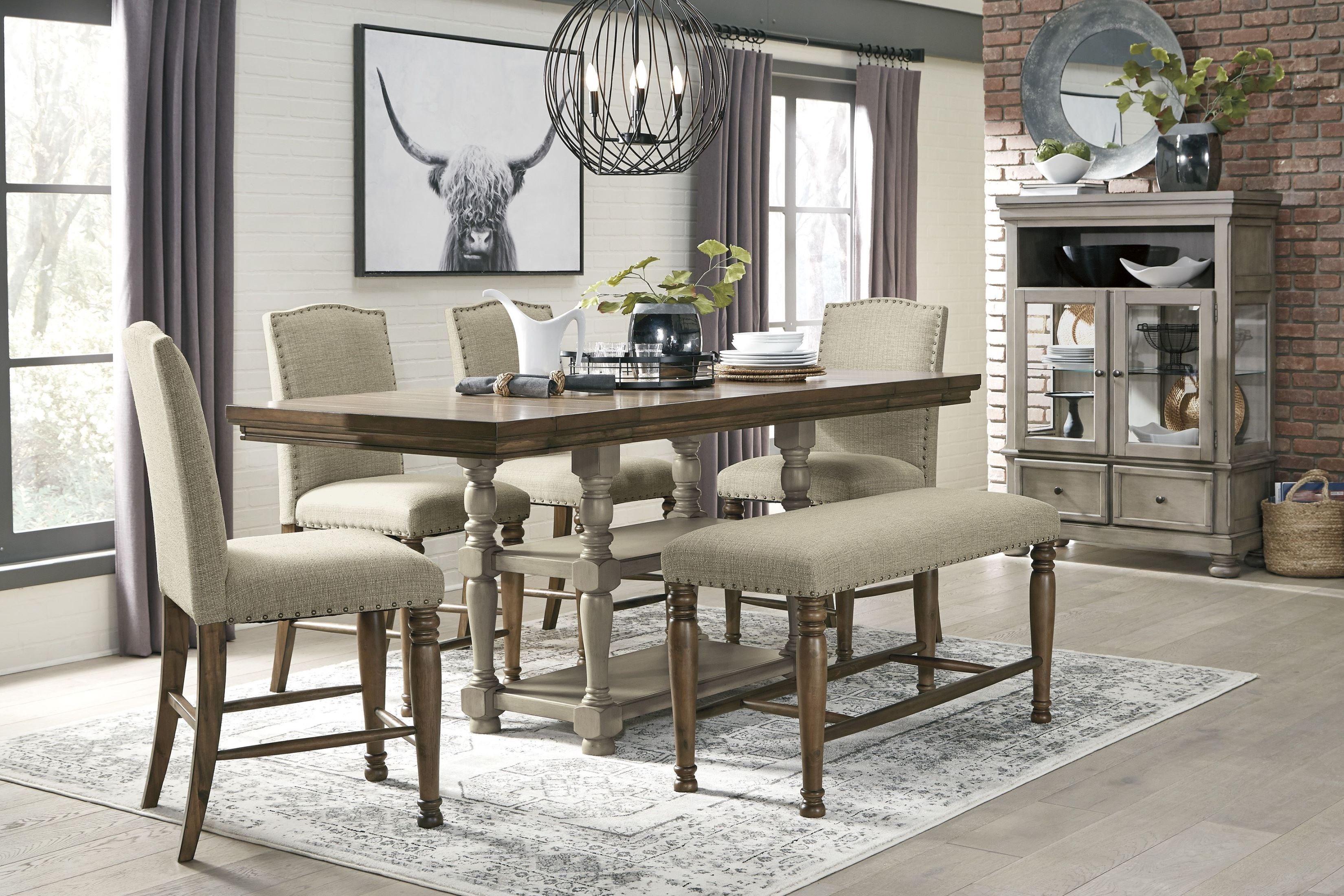 Lettner Gray and Brown Counter Height Dining Room Set from ...