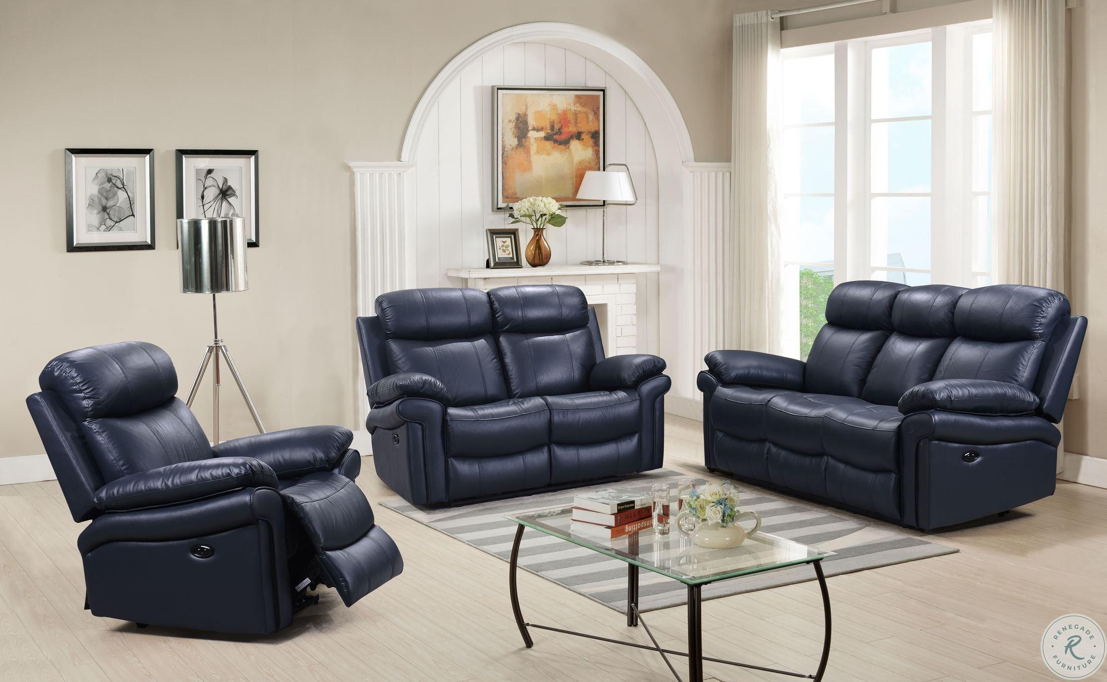 Pleasing Shae Joplin Blue Leather Power Reclining Sofa Alphanode Cool Chair Designs And Ideas Alphanodeonline