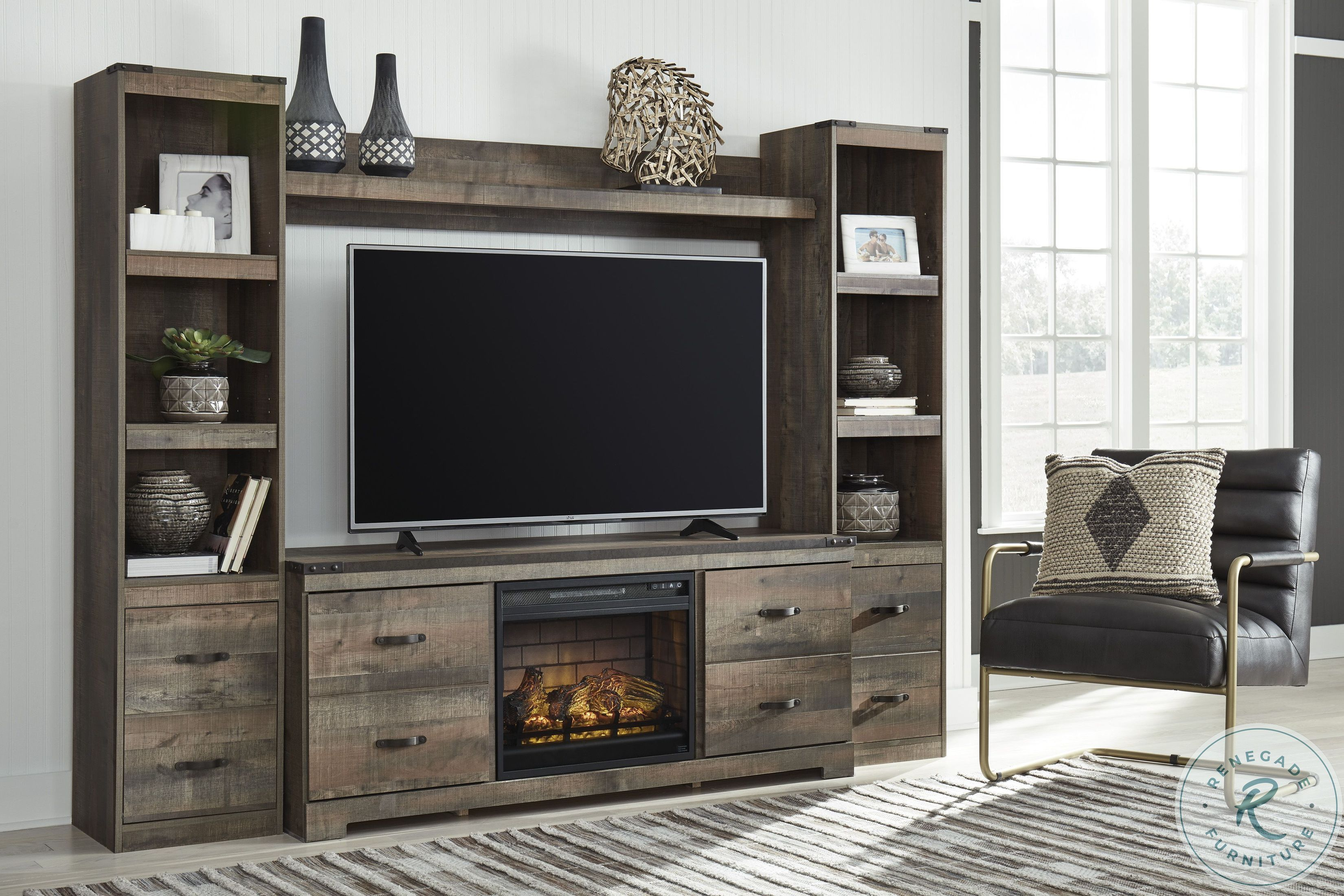 Trinell Brown 4 Piece Entertainment Center With Electric Fireplace