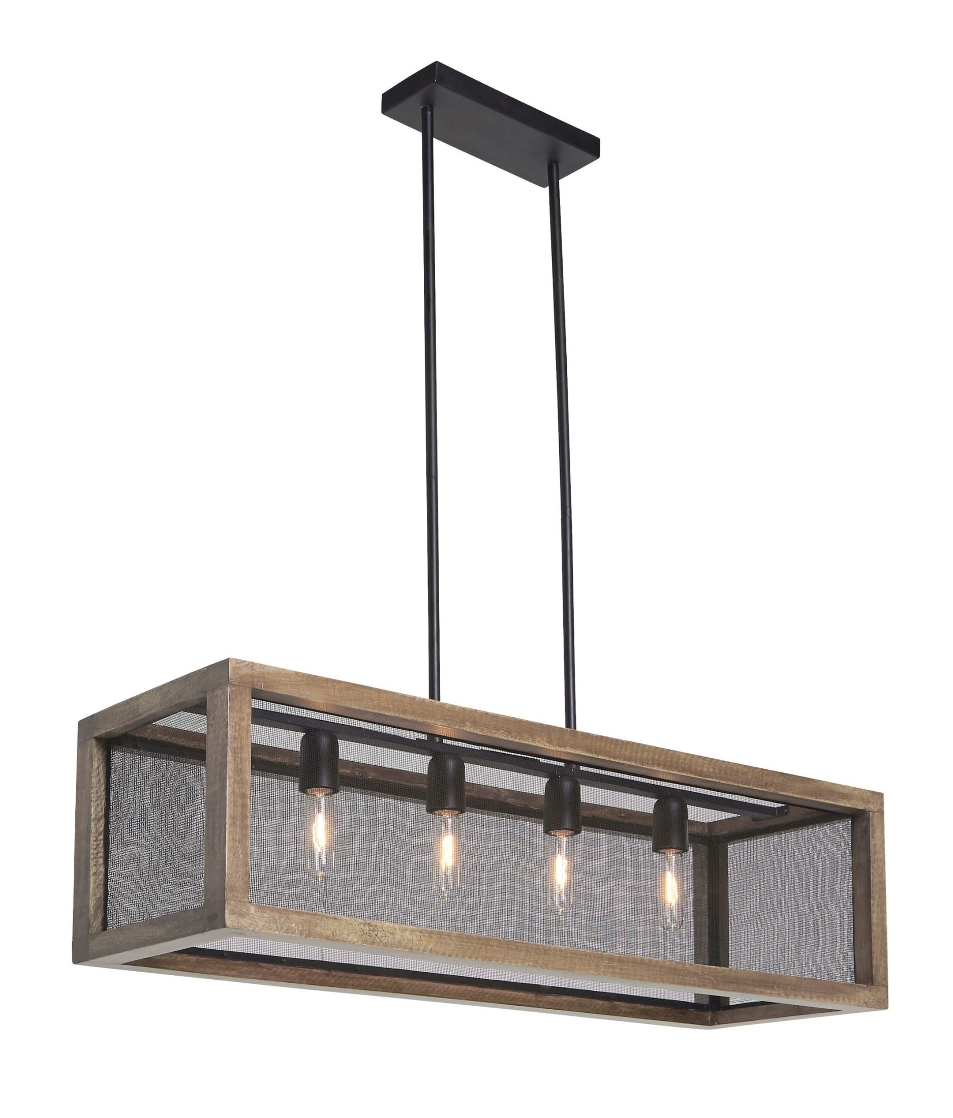 Uttermost 22050 Nashua 4 Light Wooden Lantern Pendant Gray Taupe