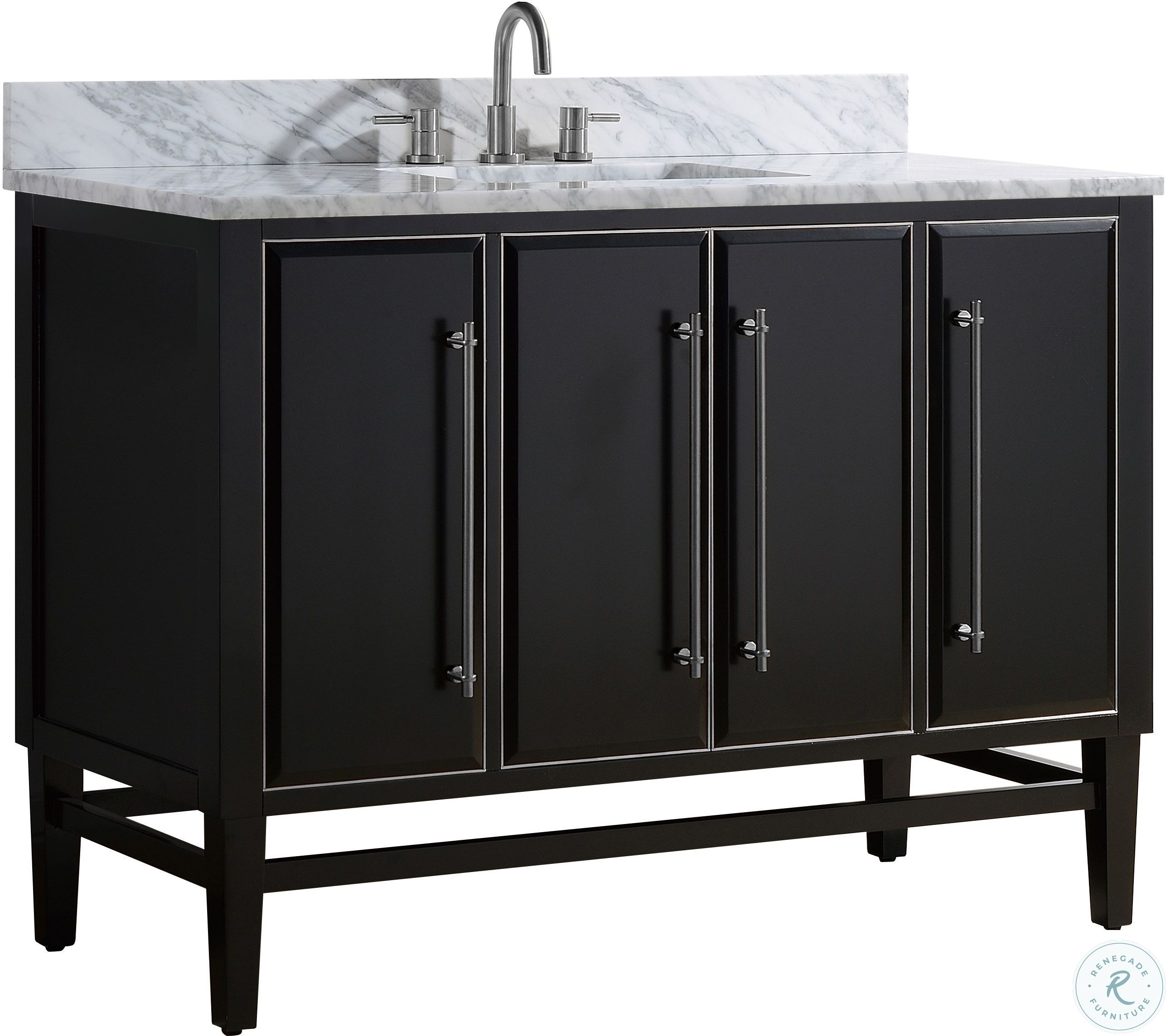 Mason Black 31 Vanity With Gold Trim And Carrara White Marble Top From Avanity Coleman Furniture