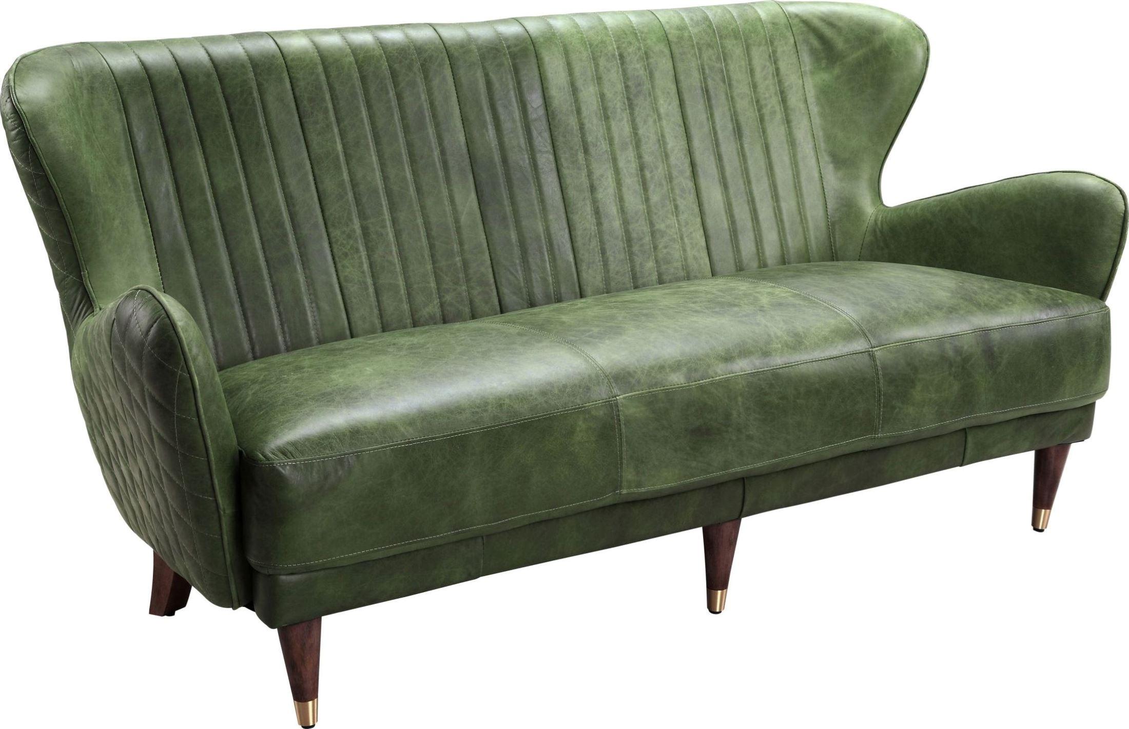 Keaton Chartreuse Leather Sofa