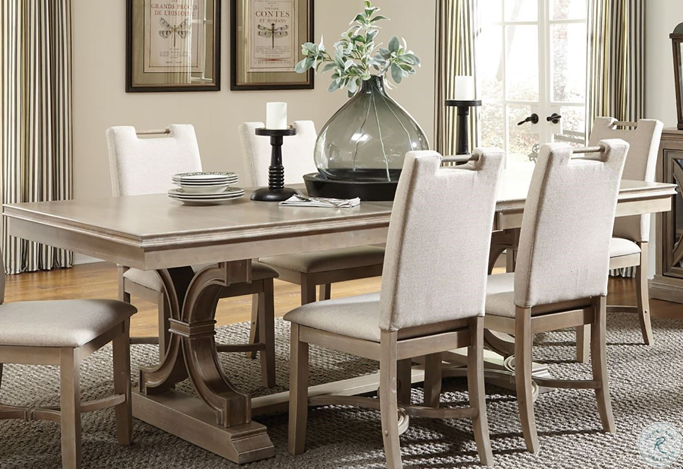 Sonoma Taupe Gray Extendable Rectangular Trestle Dining Table